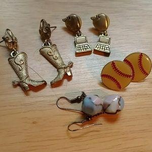 Boots and computer baseball earrings lot